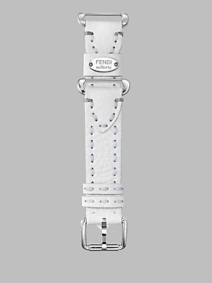 White Leather Fendi (Fendi Selleria Interchangeable Replacement Watch Band - 18mm White Calfskin Leather Strap with Pin Buckle SS18R04S)