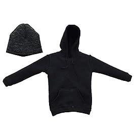 Baoblaze 1 / 6Male Action Figure Clothing Men's Hoodie Sweatshirt Hoodie Outfit And Winter Hat