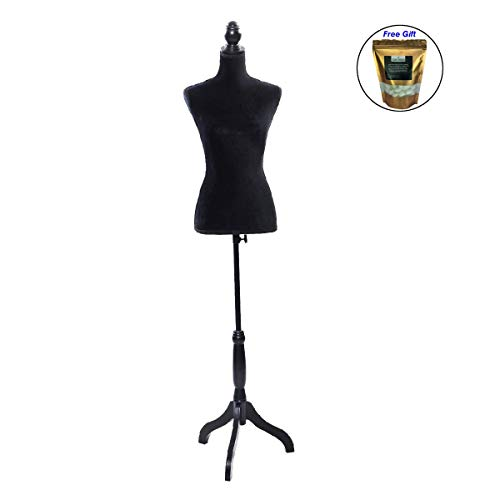 Organic Flannelette - Black Female Mannequin Torso Dress Form Display W/Black Tripod Stand Only by eight24hours + Special Gift Organic Natural Silk Cocoons