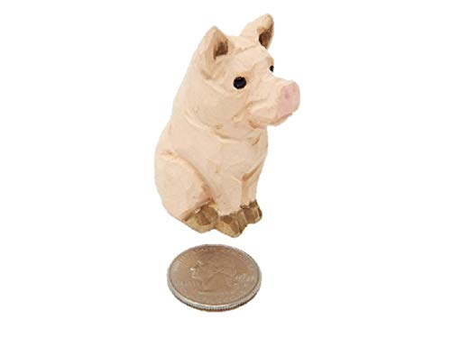 (Small Pig Figure - Miniature, Wooden Carving, Farm Animal,)