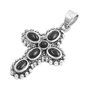 Joyara - Collier Femme Argent Fin 925/1000 Noir Onyx Croix (Vient avec une chaîne de 45 CM)