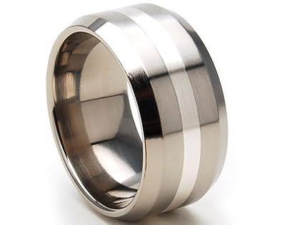 10 mm Titanium Rings w Sterling Silver Bands Titanium Wedding