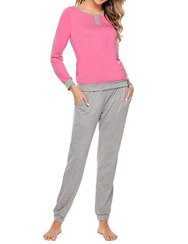 (Abollria Women Cotton Pajama Set Henley Top with Plaid Pants Long Sleeve Loungewear Set Sleepwear (Pink-2, Large))