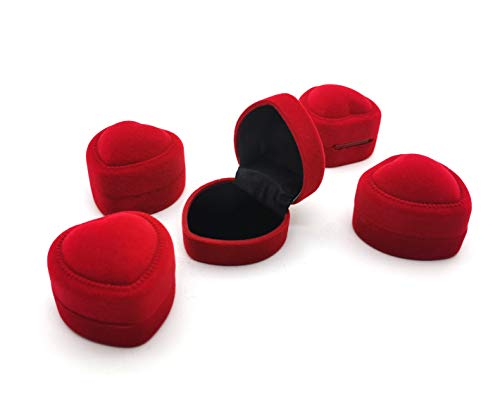 5 Pcs Heart Shape Red Velvet Ring Earrings Box Jewelry Storage Box Gift Box Jewelry Counter Display Props ()