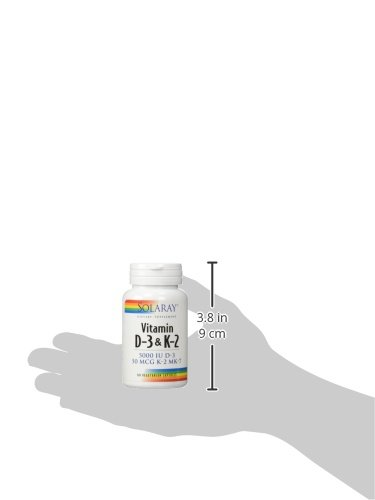 Solaray Vitamin D 3 & K 2 60 Vegetarian Capsules