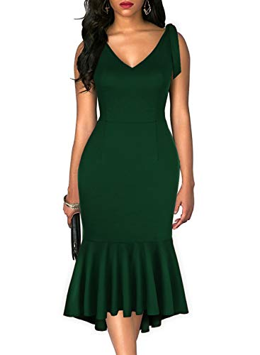 Drimmaks Women's V Neck Tie-Straps Dress Deep V Back Fitted Mermaid High-Low Swing Sheath Party Dress (Dark Green, S)
