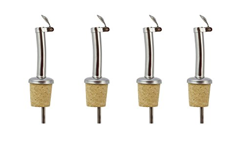 Olive Oil Wine Vinegar Bottle Pourer Free Flow Spout with Natural Cork Organic, Set of 4 by ART in HOME design