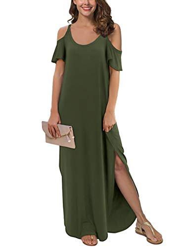 GRECERELLE Women's Summer Casual Loose Long Dress Strapless Strap Cold Shoulder Short Sleeve Split Maxi Dresses with Pocket Army Green-L