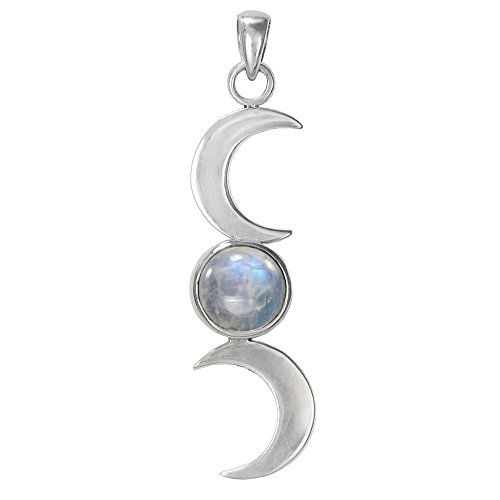 Sterling Silver Triple Goddess Moon Phase Pendant with Natural Rainbow Moonstone