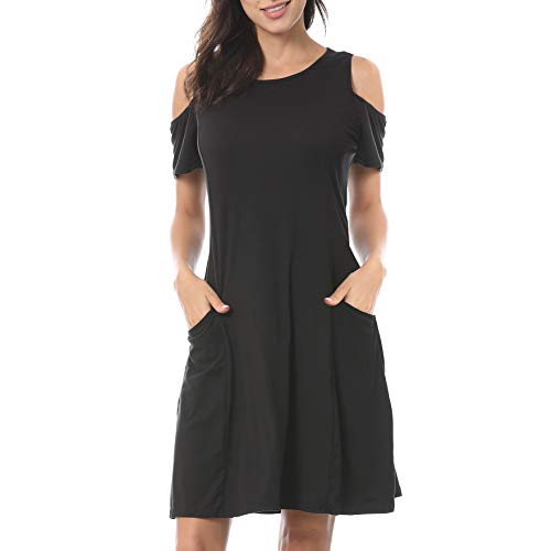 (TNNZEET Women's Summer Cold Shoulder T-Shirt Tunic Top Short Sleeve Loose Swing Casual Dress with Pockets Black)