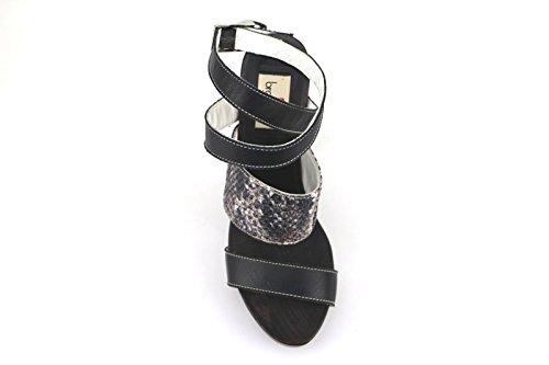 Braccialini Femme Sandales Noir Cuir Textile AH386 (36 EU) rnqbYFd