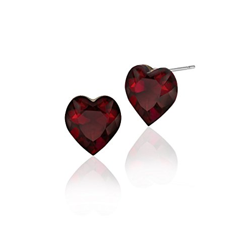 Heart Shaped Swarovski Red Crystal various MM sizes Stud Earrings Great for Mother's Day (10mm_0.40 in) - Cup Shaped Ring