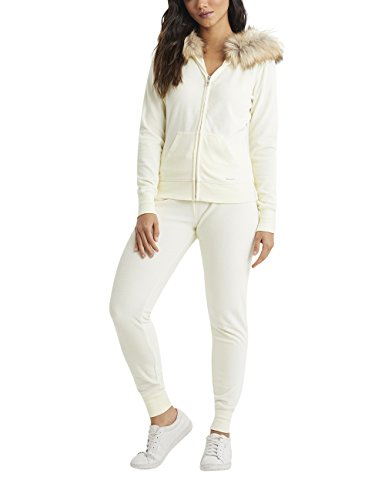 Trim Velour Hoodie Jacket (LIPSY Womens Faux Fur Foil Velour Hoody Cream US 8 (UK 12))