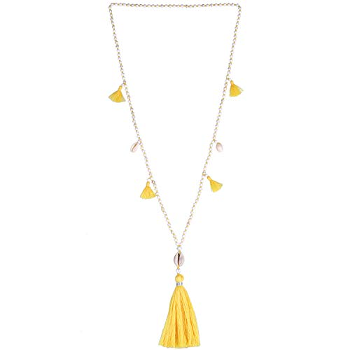 KELITCH Beaded Necklace Bib Chain Multicolor Tassel Long Strand Beach Friendship Necklace (Yellow 80G) ()