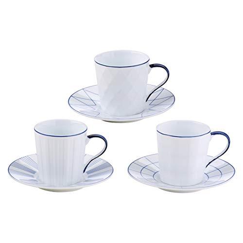 BIA Set of 3 Lux Espresso Cups & Saucers Blue, Porcelain, 115x115x60 cm
