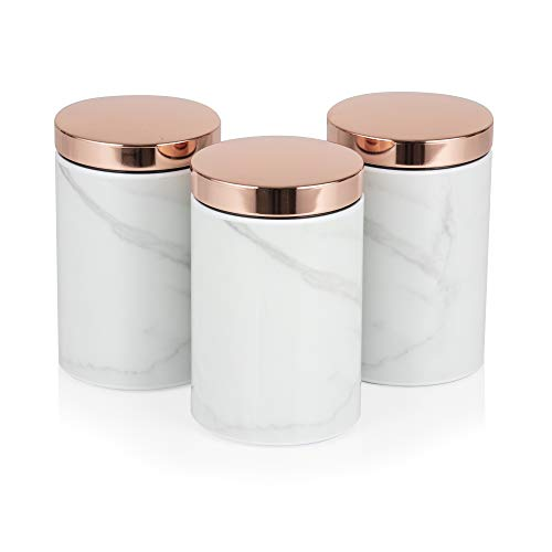 (Tower Set of 3 Canisters, Ideal for Coffee, Sugar and Tea, White Marble and Rose Gold)