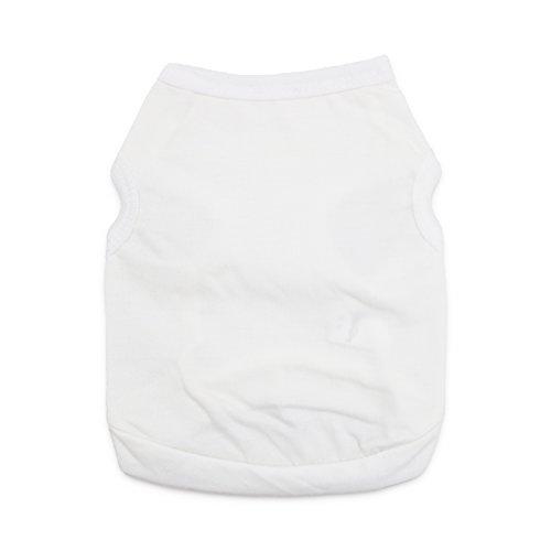 DroolingDog Pet Dog Clothes White Dog T-Shirt Medium Cat Shirts for Medium Dogs, Large, White