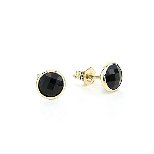 (14K Yellow Gold Handmade Gemstone Stud Earrings With 6 MM Round Black Onyx Gemstones)