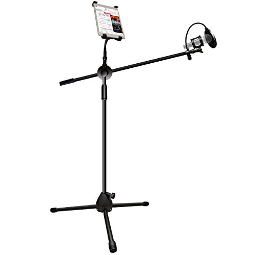Price comparison product image Microphone and Tablet Tripod Boom Stand Kit,  LOVIN PRODUCT 2-in-1 Adjustable Telescopic Tablet Holder for Apple iPad Air Mini Samsung Galaxy Note Pro Microsoft Surface Google Nexus. (1 PACK)