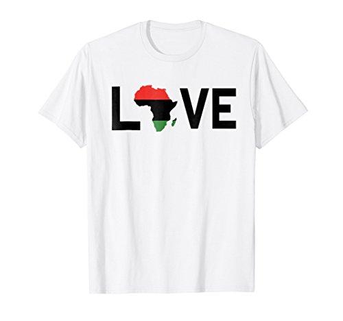 Love Africa Flag T Shirt African Pride Map Black Melanin (Map T-shirt Africa)