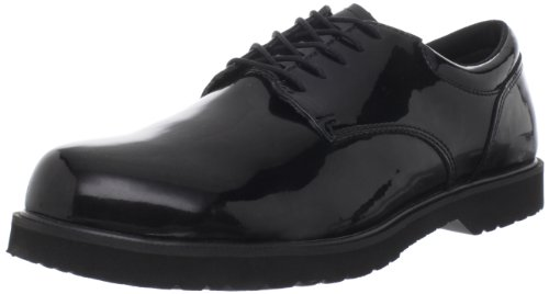 Bates Men's Hi Gloss Uniform Oxford, Black, 11.5 M US