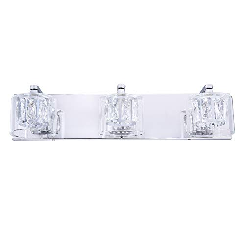 NALATI 3-Light Sconce Bath Vanity Lights with Crystal Clear Glass Shades,Wall Mount Bathroom Lighting,Brushed Nickel…