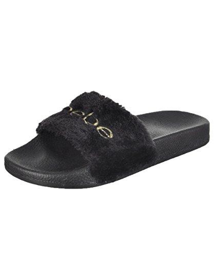 bebe Girls Faux Fur Embroidered Slides Sandal (11/12, Black/Gold)