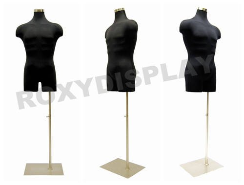 Male Hard Foam Jersey Cover Form Straight Pinnable JF-33Mleg02+BS-05 Rectangle Brushed Metal Base Black Color