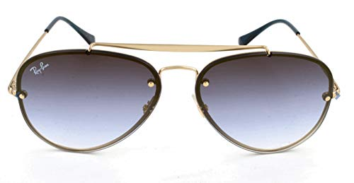 Ray-Ban RB3584N Blaze Aviator Sunglasses, Gold Demigloss/Blue Gradient Mirror, 58 ()