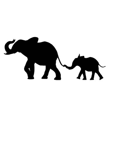 Pack of 3 Elephant and Baby Elephant Stencils Made from 4 Ply Mat Board 11x14, 8x10, 5x7 (Outline Elephant Baby)