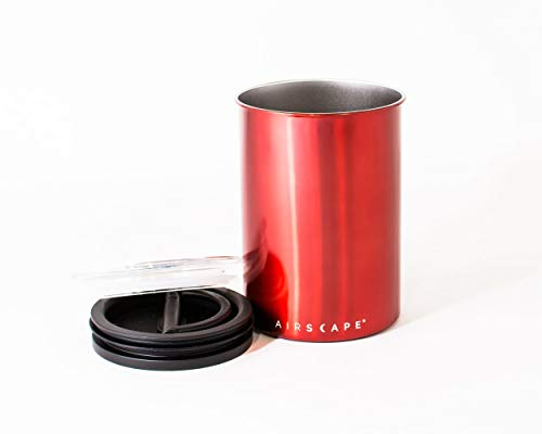 Airscape Coffee Storage Canister (1 lb Dry Beans) - Patented Airtight Lid Pushes Air Out to Preserve Food Freshness - Two Way Valve Releases CO2 - Stainless Steel Food Container - Candy Apple Red