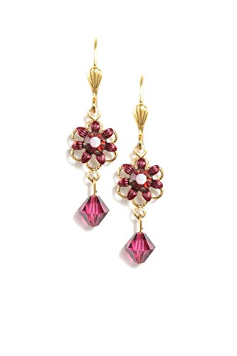Clara Beau Red Swarovski Glass Crystal Goldtone Small Flower Drop Earrings EAM141]()