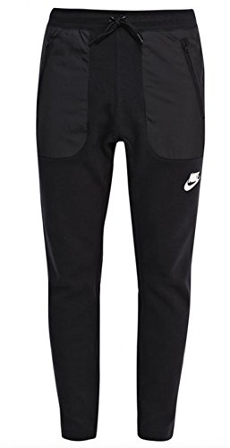 Nike Men's Sportswear Cuff Sweatpants (LARGE, Black/Black/White)