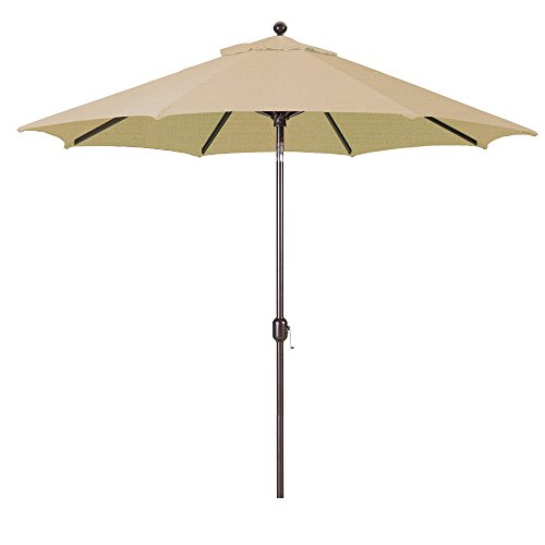 9-Foot Galtech (Model 737) Deluxe Auto-Tilt Umbrella with Antique Bronze Frame and Sunbrella Fabric Heather Beige (Includes Extended Frame Warrantee) from Galtech