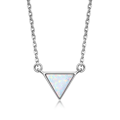 (VOUCHON 14K White Gold Plated Sterling Silver Triangle White Opal Necklace for Women Dainty)