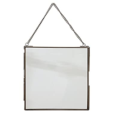 Large Nickel Square Brass and Glass Photo Frame with Chain