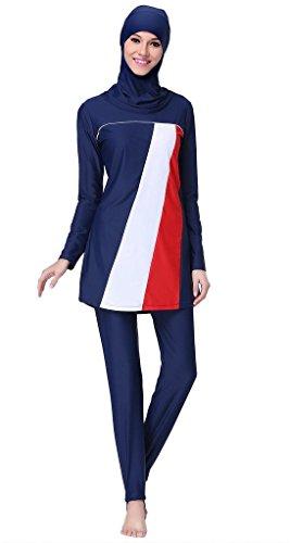 Ababalaya Womens' Muslim Islamic Swimsuit 2 Pieces Full Cover Hijab Burkini Swimwear,005Red,Tag Size XL/US Size 8-10