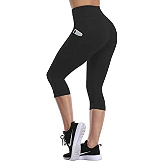 UURUN High WaistYoga Pants for Women Capris Workout Leggings with Pockets Running Capris Tummy Control Non-See-Throughfor Athletic Exercise Gym Black-L