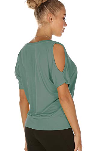 icyzone Yoga Tops for Women - Cold Shoulder Short Sleeves Casual T-Shirts Loose Fit (L, Agate Green)