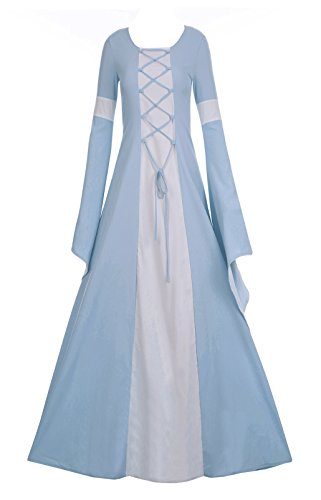 Halloween Wedding Dress - Fashare Women's Medieval Dress Renaissance Costume Gown Hooded Lace Up Floor Length Cosplay Dress