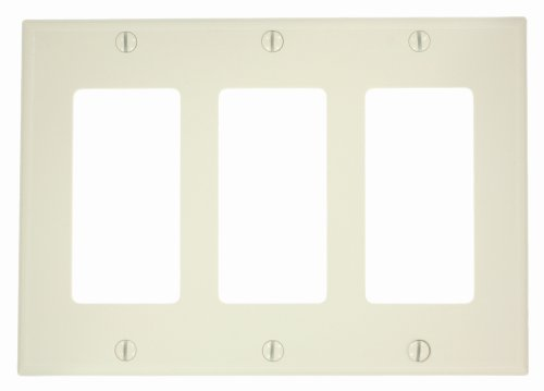 - Leviton 80411-NT 3-Gang Decora/GFCI Device Wallplate, Standard Size, Thermoset, Device Mount, Light Almond
