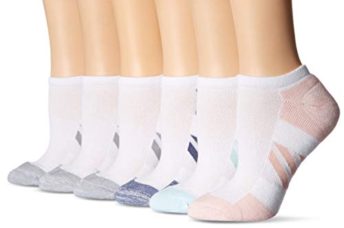Amazon Essentials Women's 6-Pack Performance Cotton Cushioned Athletic No-Show Socks, White, Shoe Size: 8-12
