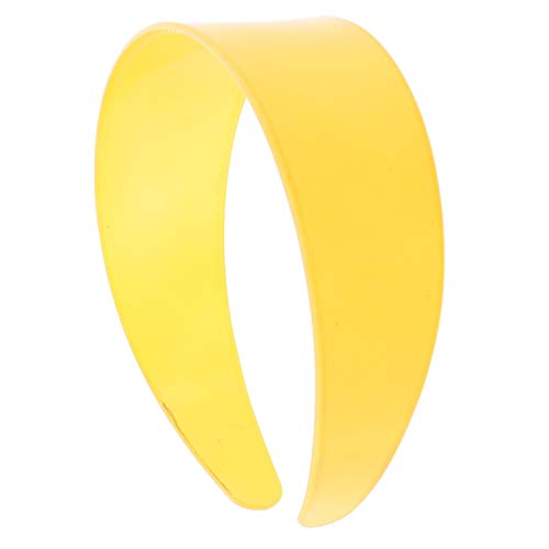 (Yellow 2 Inch Hard Plastic Headband with Teeth Women and Girls wide Hair band (Motique Accessories))