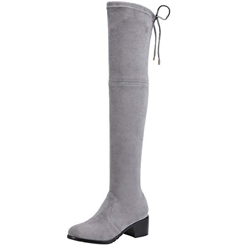 ELEHOT Round The Knot Block Leather Boots Above Light Toe Knee Grey Heel Elefather Womens XrFx0X