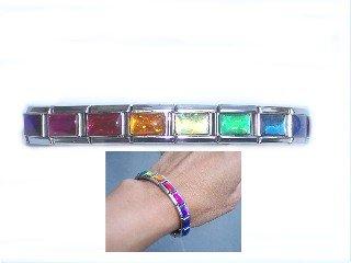 Rainbow Iridescent Italian Charm Bracelet (Rainbow Charm Bracelet Italian)
