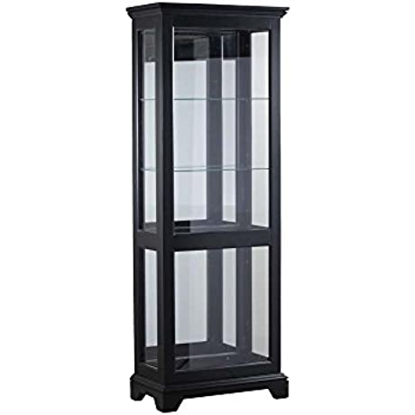 Powell Blackledge Collection 15A7051 29 Large Curio With Two Glass Shelves Decorative Molding Lighting And Mirrored Back In