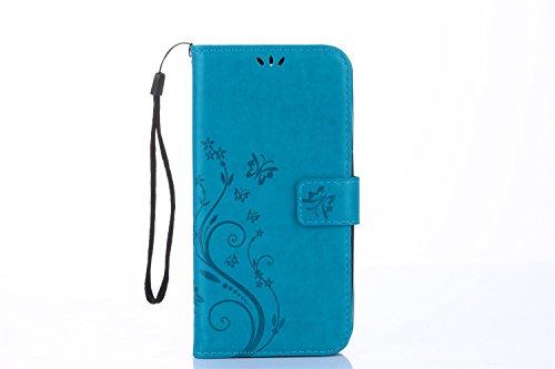 SRY Caja grabada en relieve del soporte de la cartera del tirón del cuero de la PU del diseño floral de la flor para Samsung Galaxy S8 ( Color : Blue ) Blue