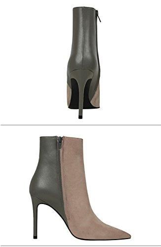 Court Boîte Haut Bottes Simples Couture Souligné Tube Nuit Sexy Talon Mince Bottes De Gris Courtes Xz fvtqpf