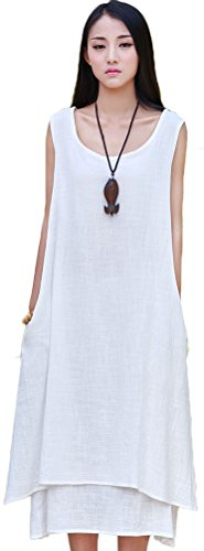 Soojun Women's Essential Double-Layer Sleeveless Linen A-Line Dresses 2 White Small