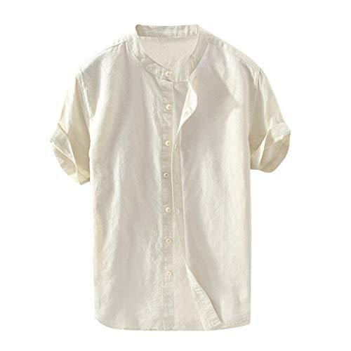 Beautyfine Short Sleeve Button Retro T Shirts Tops Men's Baggy Cotton Linen Solid Blouse Khaki